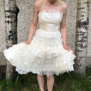 Multi Ruffle Cream Dress